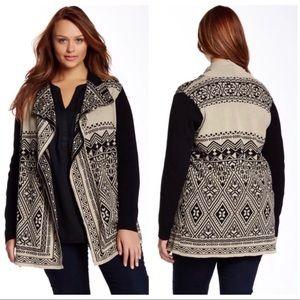 Lucky Brand Womens Plus 3X Sweater Jacket Black
